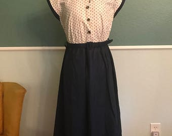 1950's Navy Blue and White Polka Dot Maternity Dress S-M