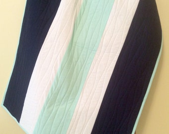 Handmade baby quilt, gender neutral baby quilts, modern baby quilt, nautical baby quilt, navy, mint, crib quilt, baby gift, toddler quilt