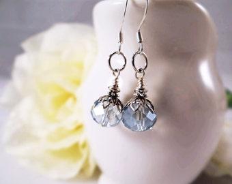 Blue crystal Art Nouveau earrings, Elegant pale blue & silver earrings, Romantic pale blue earrings, Crystal Art Deco style earrings