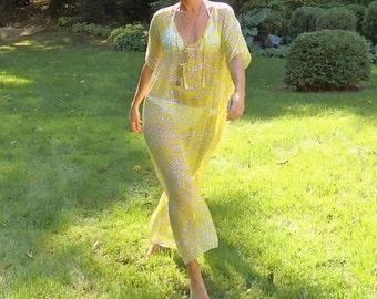 Silk caftan, silk kaftan, Italian silk chiffon caftan, floral maxidress, cover up, beach dress, resort wear, floral dress, yellow caftan