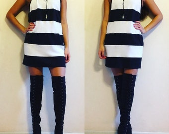 Striped Muscle Tee Dress - Pick your own color combination / Dress  / Muscle Tee / Muscle Tee Dress / T-Shirt Dress / Tank Top Dress / Tank