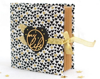 Diary journal fabric cover notebook golden hearts memory book craft paper writing journal notebook with hearts gift for her everyday journal