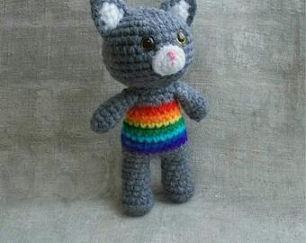 Rainbow Baby Crochet Rattle Cat New Baby Gift Baby Shower Gift Baby Rattle Crochet toy Rainbow Cat Rainbow Kitten Rainbow Animals Eco Toys