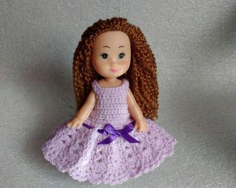 Purple Dress for Doll Crochet Dresses for Dolls Dollhouse Doll Clothes Doll Clothing Miniature Clothes Dollhouse Custom Dress for Doll