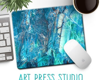 Blue Marble Stone Mouse Pad, Turquoise Marbled Stone Mousepad, Marble Mouse Pad, Natural Stone, Office Decor, Gift for Coworker