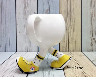 Walking Pottery Running Tea Cup, Gift for Shoe Lovers, Unique Porcelain, Funny Coffee Mug, White Mug, Unusual Ceramic, Cups with Legs, Ware