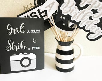 Birthday Photo Booth Props | Photo Booth Props | Black and White Birthday |  Black and White Decorations | Birthday Decorations