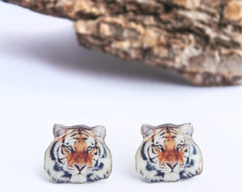 Tiger earrings , Wild animals studs , Tiger studs , Animals earrings , Tiger jewelry , Animal lover gift , Tiger accessories , Gift for her