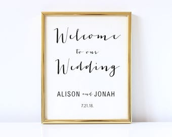 Welcome Wedding Sign Template - Printable Welcome to Our Wedding Sign - Wedding Reception Signage - COLOR EDITABLE in MS Word