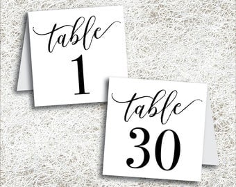 Printable Tented Table Numbers 1 - 30 | Instant Download | Printable Wedding Table Numbers | Tent Table Numbers | Folded Black (FROST Set)