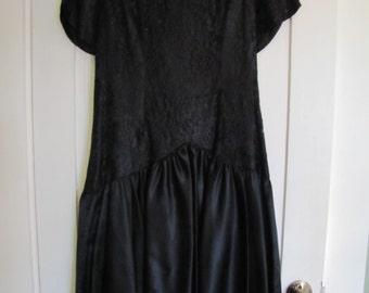 Sale! David Rose Black satin & lace evening dress size 12