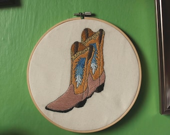 Cowboy boots embroidery hoop