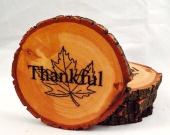 Thankful Autumn Leaf Natural Wood Coasters (4-Pack)
