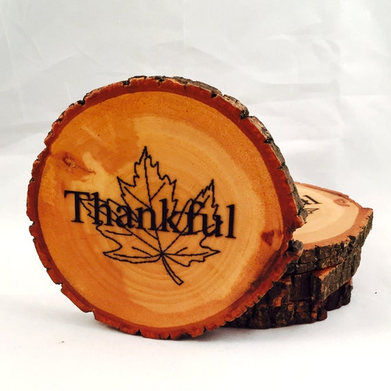 Thankful Autumn Leaf Natural Wood Coasters (4-Pack)