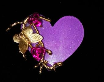 FINAL SALE 50% OFF You Give Me Butterflies Gold Branch Lavender Purple Fuchsia Glitter Heart Affirmational Brooch