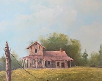 """Vintage Farm Country Home & Yard with a Fence Post, Original Landscape Oil Painting, Unsigned 11"""" x 16"""""""