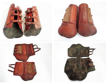 Leather Horses Jumping Boots, G.Kieffer, Open Front Fetlock Jumping Boots, Equestrian, Horse Wear, Sporting Goods, Size 2, West Germany