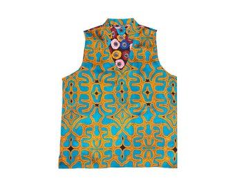 Silk Blouse, Silk Top, Hand Printed Blouse, Unique Clothing,  Silk Blouse, Colorful Blouse, Colorful Top, Blouse, Top, Silk Shirt,