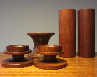 Mid Century Modern Sculptural Solid Pair of Wood Pillar Candle Stick Holders - Made in the 1960s