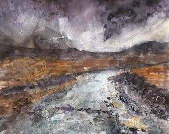 On Skye | original painting | gouache | watercolour | mixed media | water | stream | river | mountains | skye | sky | Tracy Butler