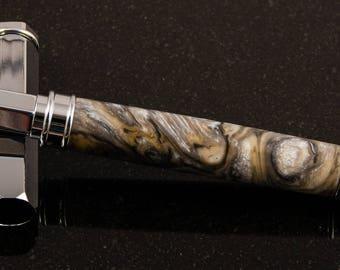 Chrome & Granite Pearl Swirl Magnetic Rollerball Pen