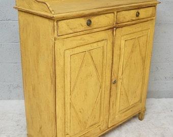 Vintage Ochre Yellow Painted Pine Cupboard