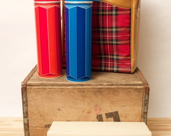 Romantic Thermos Set - Pair of Thermos bottles, carry box, and classic plaid carry bag