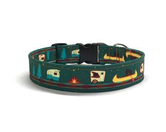 Camping Dog Collar, Outdoor dog collar, Woodsy Dog Collar, Eco Canvas Dog Collar