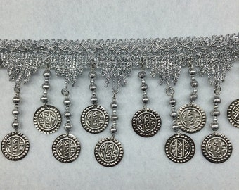Metal Coin & Beaded Fringe