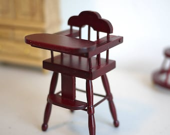 Dollhouse toddler booster seat dolls house infant seat youth chair high chair 1 12th scale miniature