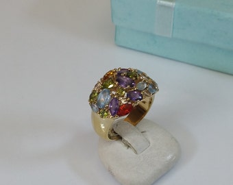 18 mm ring silver gold plated colorful crystals SR672