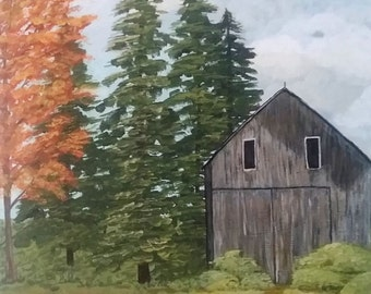 Painting of an old barn in the fall, rustic barn, fall leaves, grey barn, red barn, barn painting, Acrylic painting of barn, harvest