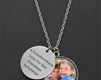 Custom Made With Your Photo A Grandmothers Love For Her Grandson Is Forever Necklace Christmas Gift For Grandma
