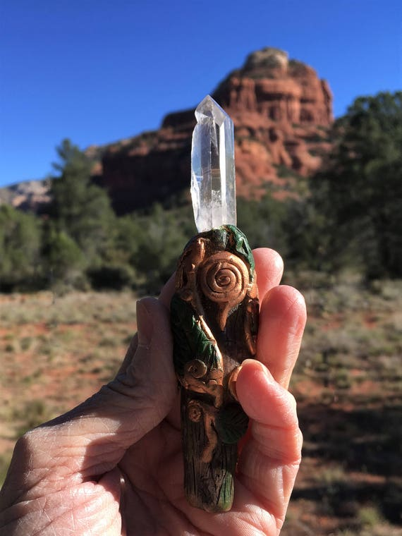 "5"" long WAND Hand Sculpted with LASER WAND Window Crystal Sedona & Reiki Charged, Enegy Worker's Wand, Natural Quartz Starbrary Crystal"