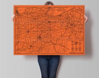 Ohio Road Map Etsy - Road map us ohio