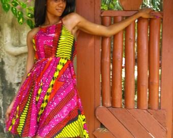 Fast Like Lightening Dress // Summer Dress // African Print Dress // Festival dress // Cute dress // Pink // Patterned dress // African