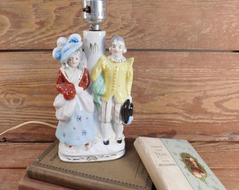 Vintage Japan George and Martha Accent Lamp, Hand Painted Porcelain Lamp