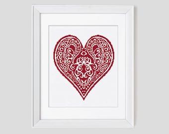 Cross Stitch Pattern, paisley heart cross stitch pattern, heart cross stitch pdf pattern