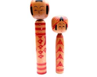 Set of Vintage Japanese Kokeshi Dolls