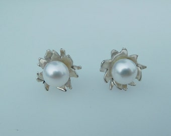 Sterling SIlver Pearl flower studs