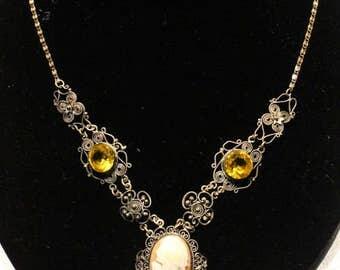 Vintage Alpaca Shell White Cameo Pendant Necklace Jewelry