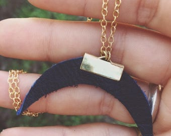 blue leather crescent moon necklace