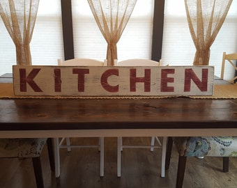 Kitchen Sign, Hand Painted Sign, Wood Sign, Farmhouse Decor,Distressed Sign, Country Decor, Shabby Chic Decor, Rustic Sign