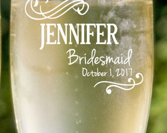 Bridesmaids Gift Ideas, 8 Personalized Champagne Flutes, Bridal Party Gifts, Unique Bridesmaids Gifts, Father of The Bride Toast, Etch Glass