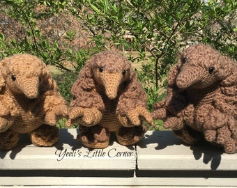 Pangolin, light brown, brown and 2-toned. Crochet Amigurumi. Made to Order: will ship in 1-2 weeks.