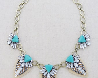 Statement necklaces, white statement necklace, turquoise statement necklace, crystal statement necklace, gold statement necklace, gift