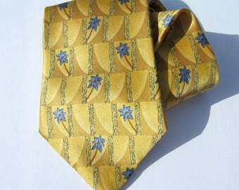 Vintage Wide Silk Tie Mens Geoffrey Beene Golden Yellow Neck Tie  Blue Palm Trees 1990s Atomic Mod Necktie