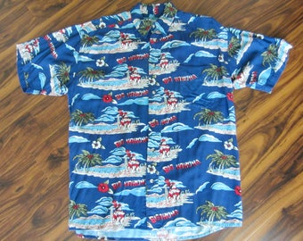 Big Dogs Kahuna Hawaiian Blue Men Vintage 1990s Short Sleeve Rayon Button Aloha Rockabilly Luau Small Medium