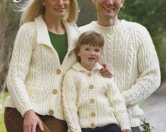 King Cole Knitting Pattern 3019~Cabled Sweater & Cardigans~Aran~26-44""