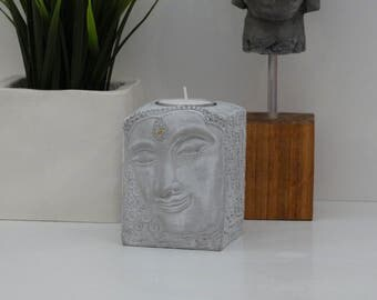 Solid Stone Composite Buddha Face Tealight Holder